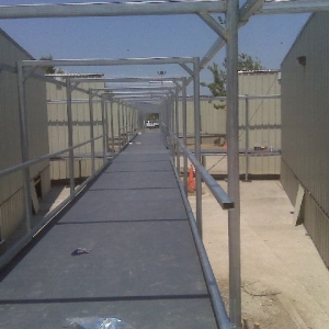 green recyclable walkway and canopy